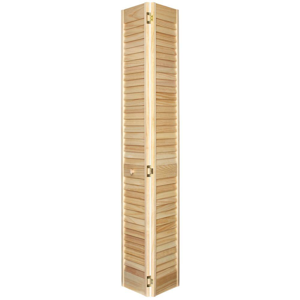 32 in. x 80 in. Louver/Louver Stain Ready Solid Wood Interior
