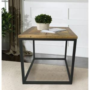 Industrial Reclaimed Wood Square End Table by