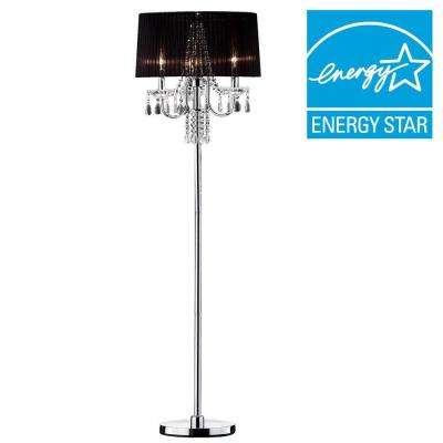 61 in. Silver Crystal Drop Floor Lamp