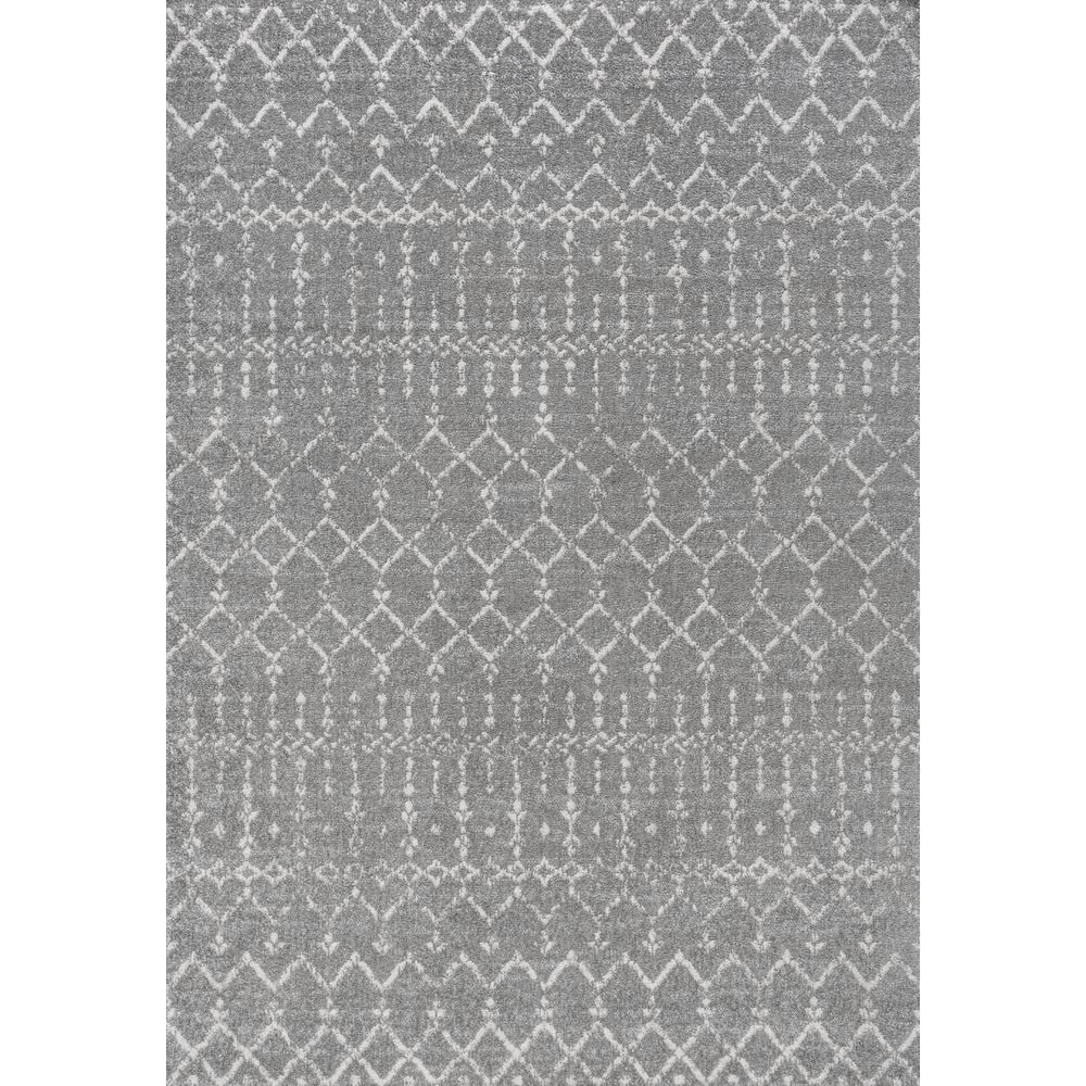 Moroccan HYPE Boho Vintage Diamond Gray/Ivory 4 ft. x 6 ft. Area Rug