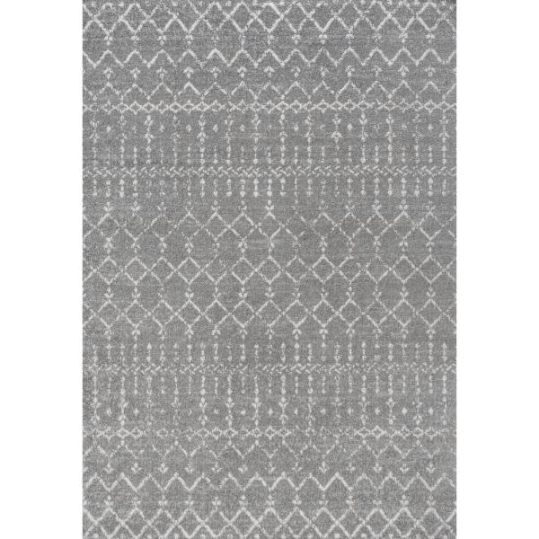 Moroccan HYPE Boho Vintage Diamond Gray/Ivory 4 ft. x 6 ft. Area Rug