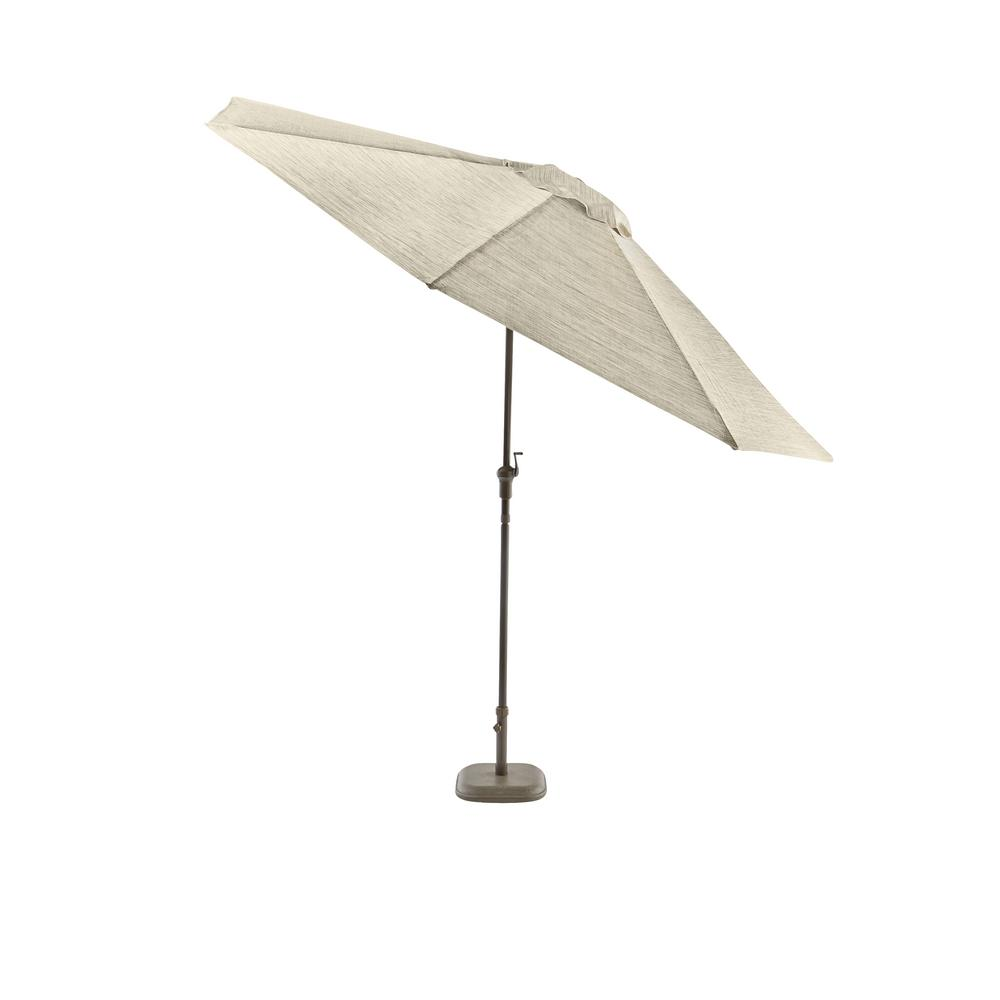 Hampton Bay Statesville 9 Ft Steel Crank And Tilt Round Patio Umbrella In Heather Gray