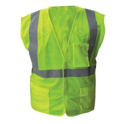 Size Extra-Large Lime ANSI Class 2 Fire Retardant Poly Mesh Safety Vest