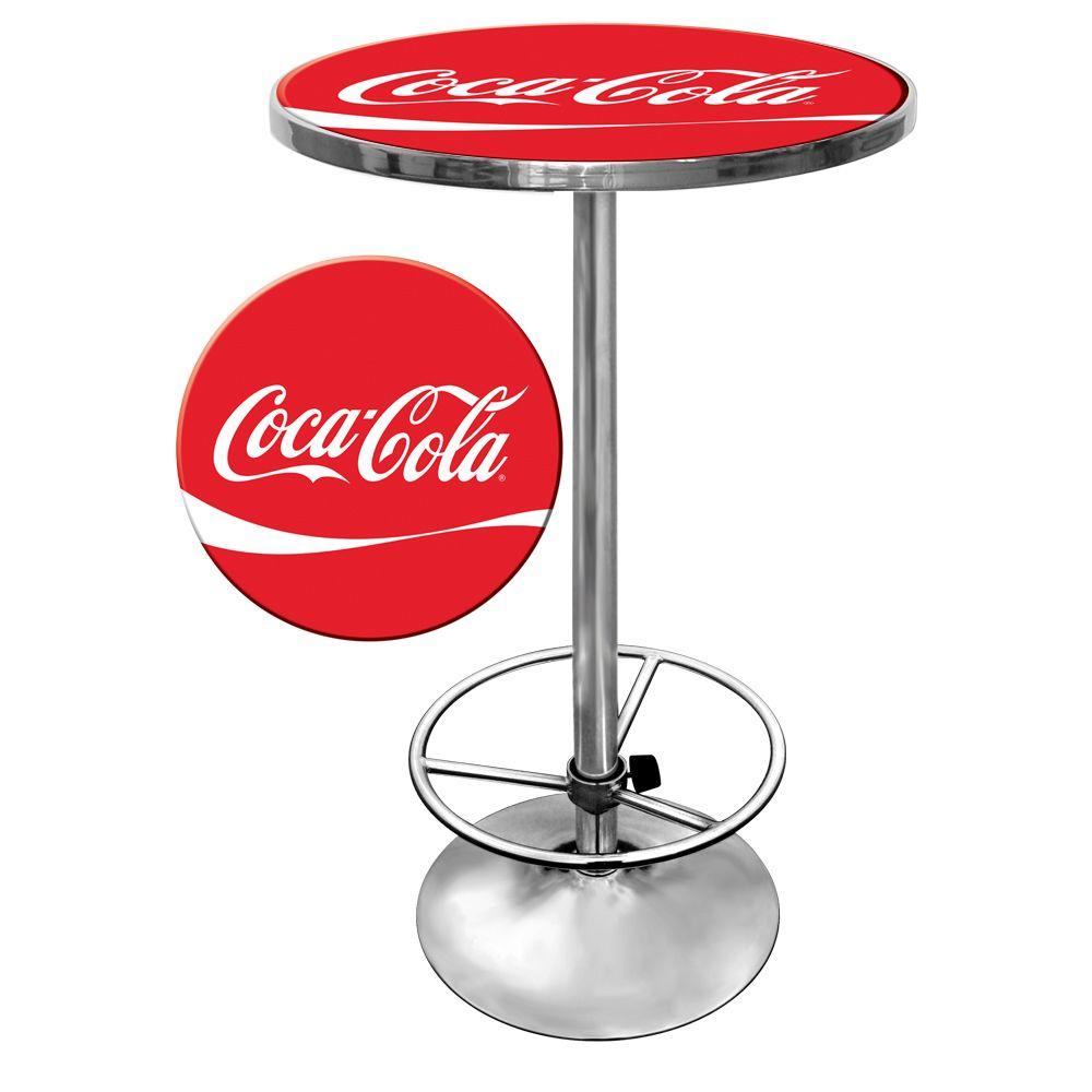 Trademark coca cola chrome pub bar table coke 2000 dr for Coke can heater