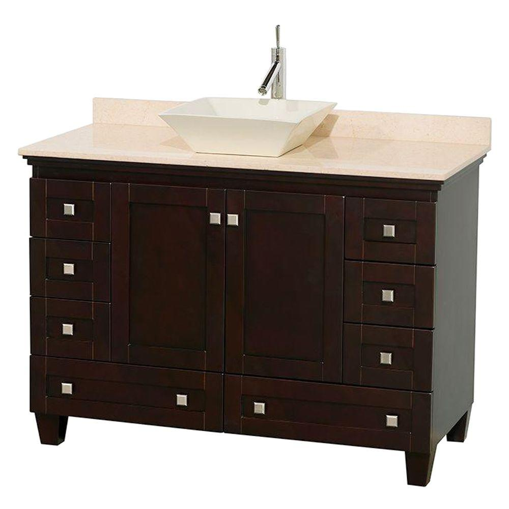 Wyndham Collection Acclaim 48 in. W Vanity in Espresso with Marble Vanity Top in Ivory and Bone Sink
