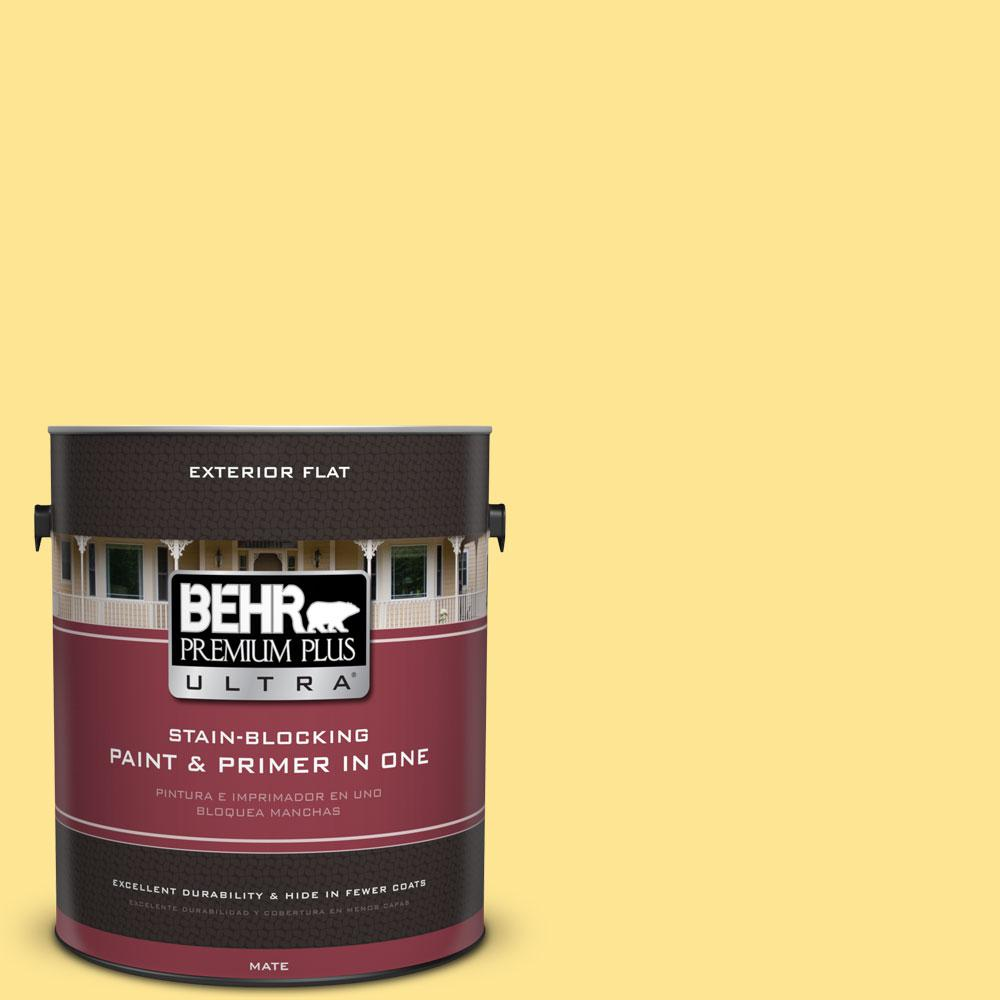 BEHR Premium Plus Ultra 1-gal. #390B-4 Chilled Lemonade Flat Exterior Paint