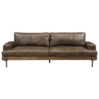 Amelia 95 in. Brown Faux Leather 4-Seater Lawson Sofa with Removable Cushions