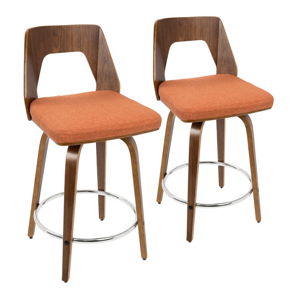 Lumisource Trilogy 24 in. Walnut and Orange Fabric Counter Stool (Set