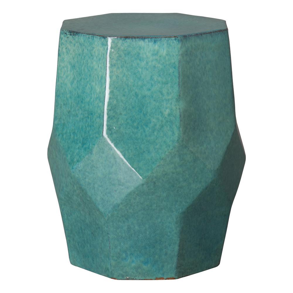 Octagon Matrix Teal Ceramic Garden Stool