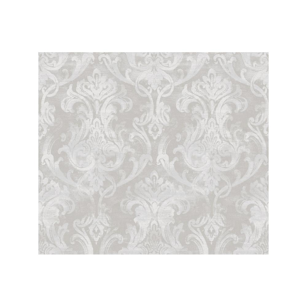Elsa Blue Ornate Damask Wallpaper, Grey