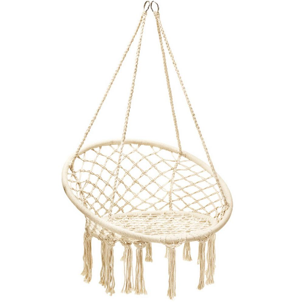 Costway 32 In L Portable Hanging Hammock Chair Macrame Swing In White Hw63846 The Home Depot