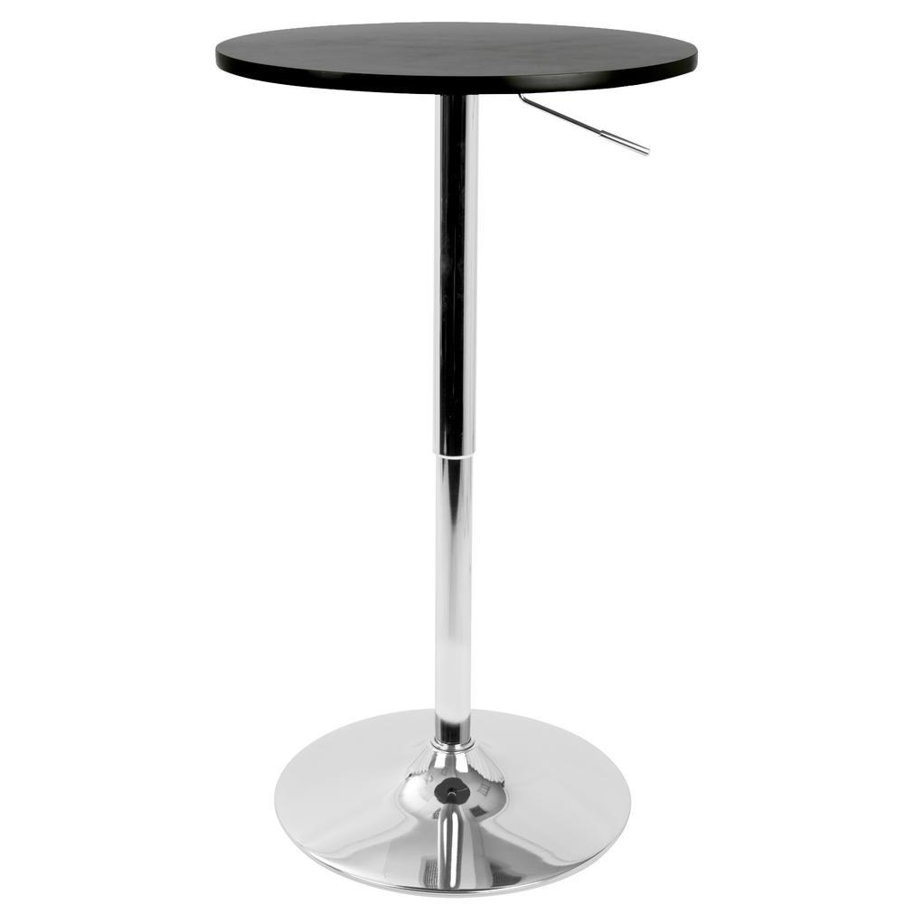 Black and Chrome Adjustable Bar Table