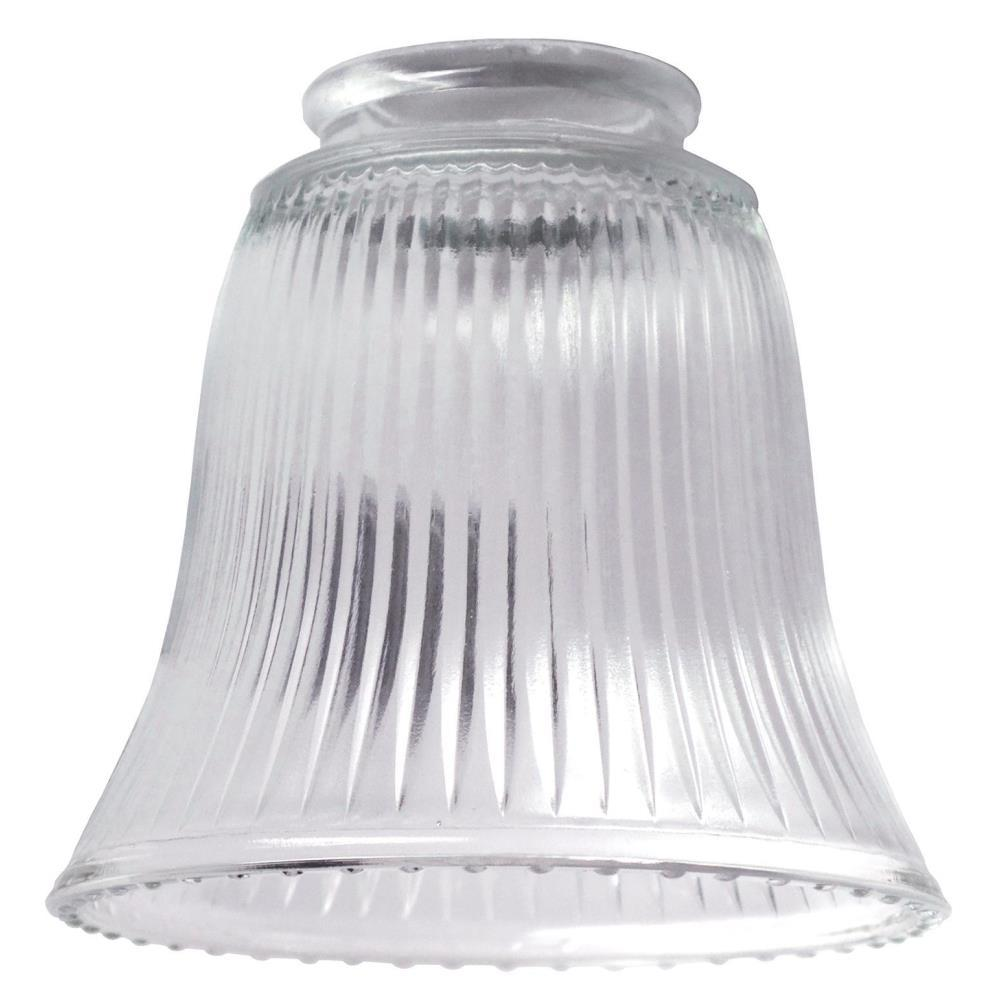 Globes shades ceiling lighting accessories the home depot 4 12 in clear ribbed bell with 2 14 mozeypictures Gallery