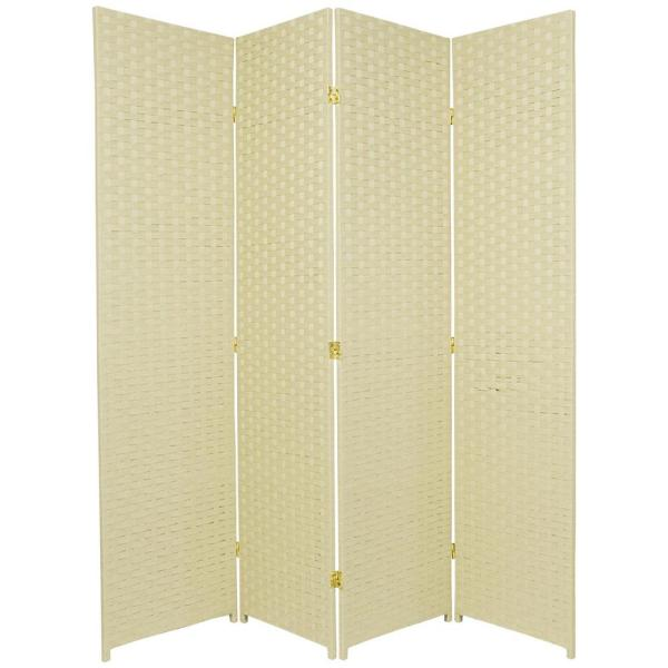 6 ft. Cream 4-Panel Room Divider