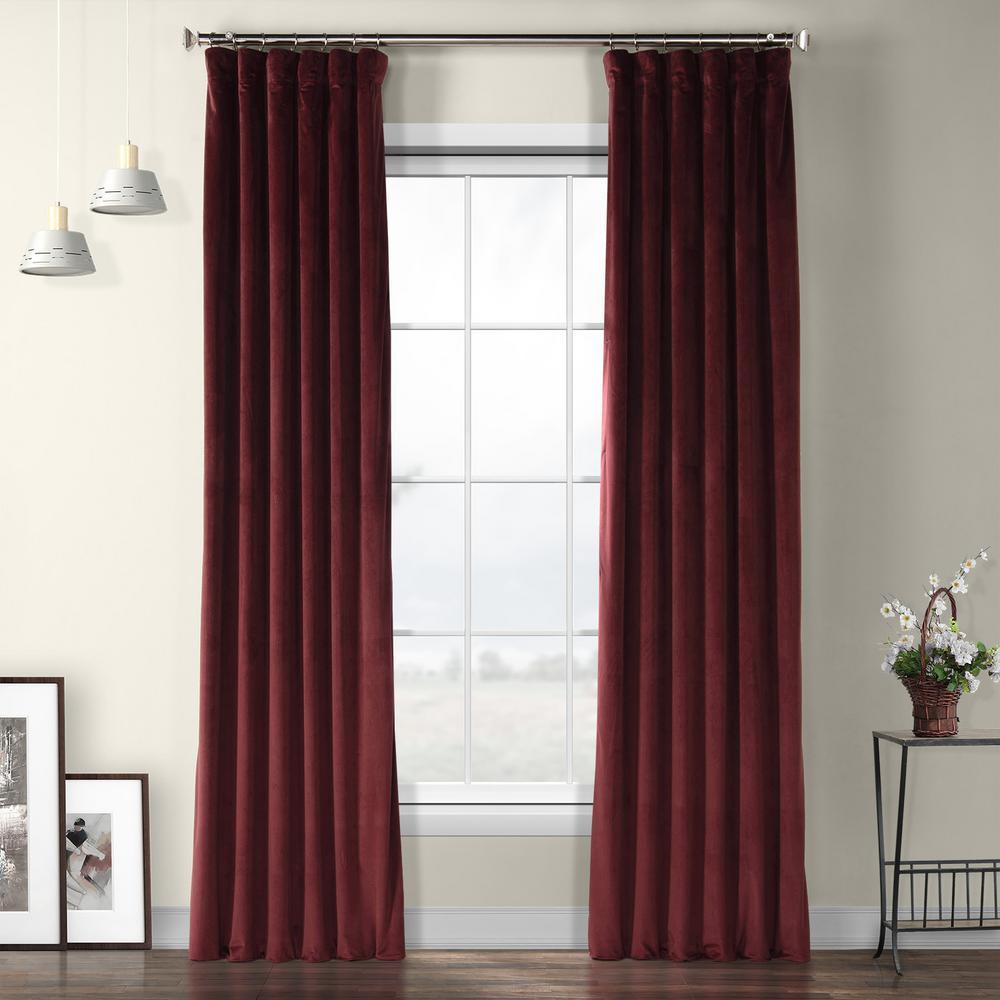 Dark Merlot Red Plush Velvet Curtain - 50 in. W x 108 in. L