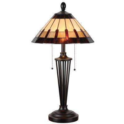 Harmond 30 in. Bronze Tiffany Table Lamp with Art Glass Shade