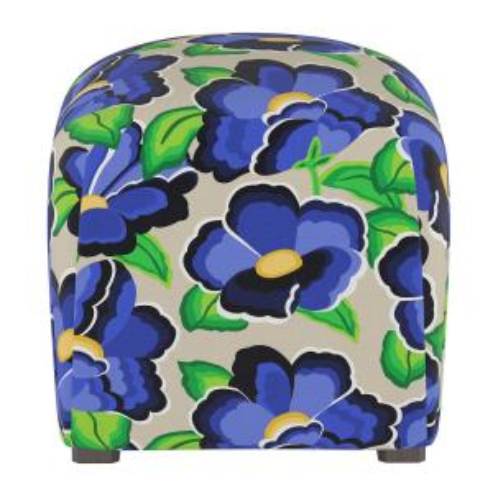 Carla Floral Blue Cube Ottoman