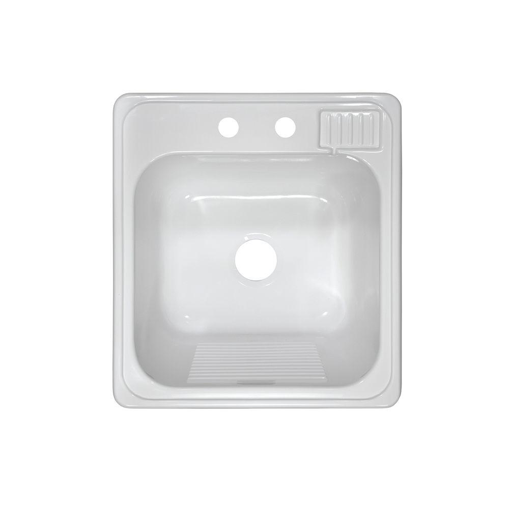 Lyons Industries Laundry Tub Top Mount Acrylic 20x22x12 in. 2-Hole Single Bowl Kitchen Sink in White