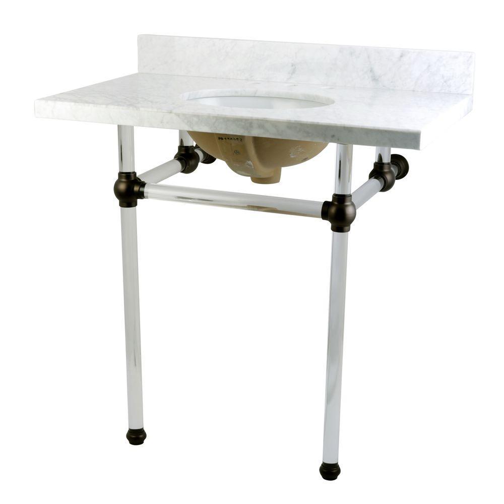 Kingston Brass Washstand 36 in. Console Table in Carrara ...