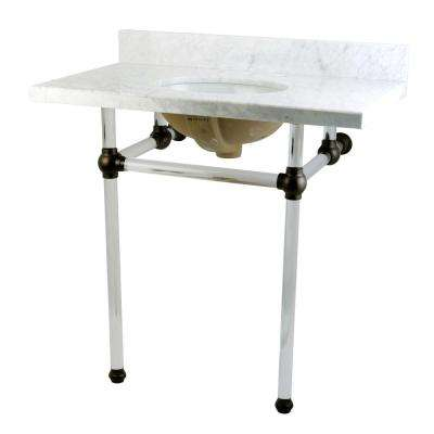 Washstand 36 in. Console Table in Carrara White with Acrylic Legs and Connectors in Oil Rubbed Bronze