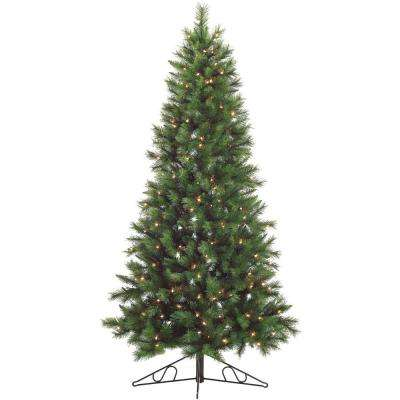 7.5-Ft. Pre-lit Canyon Pine Half-Wall or Corner Artificial Christmas Tree with 250 Clear Lights