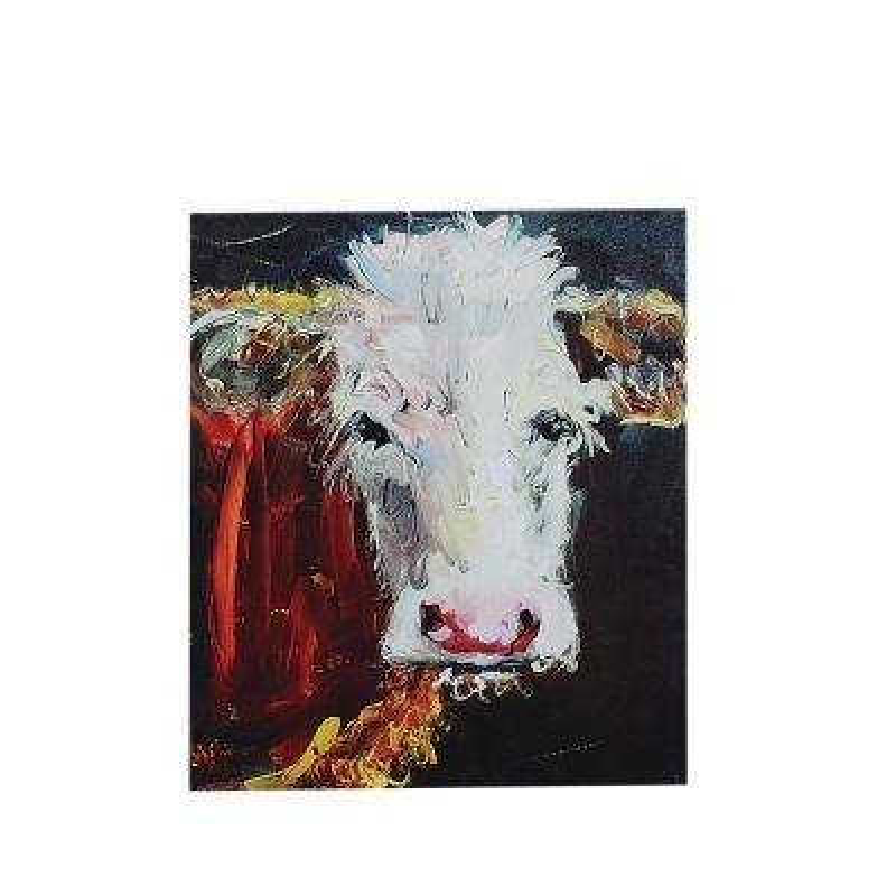 "36 in. x 26.5 in. ""Friendly Cow"" Canvas Wall Art"