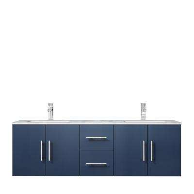 Geneva 60 in. W Double Bath Vanity in Navy Blue with Marble Vanity Top in White Carrara with White Square Basins