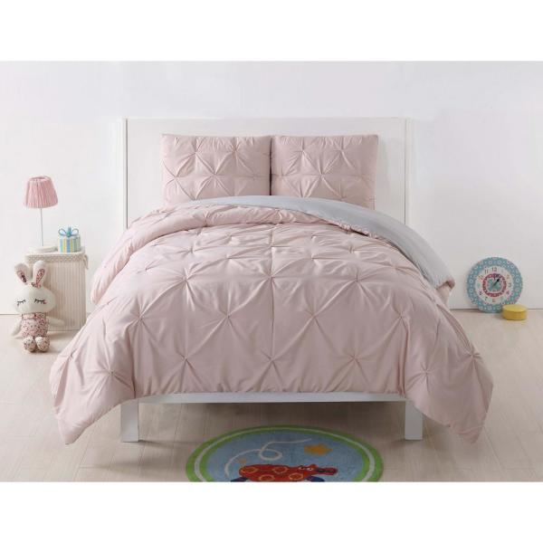 Pleated 3-Piece Blush and Silver Grey Duvet Full/Queen Duvet Cover Set