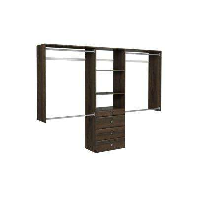 14 in. D x 96 in. W x 72 in. H Espresso Ultimate Wood Closet System Kit