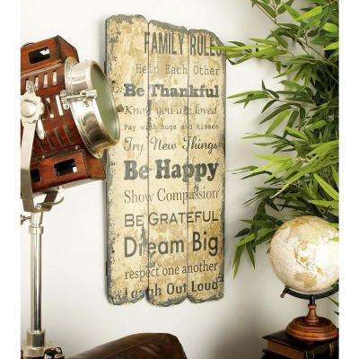 14 in. x 23 in. New Traditional Torn Printed Page Wooden Wall Decor