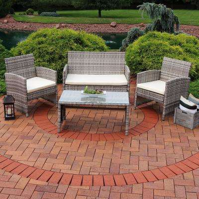 Lomero Rattan 4-Piece Wicker Patio Conversation Set with Beige Cushions