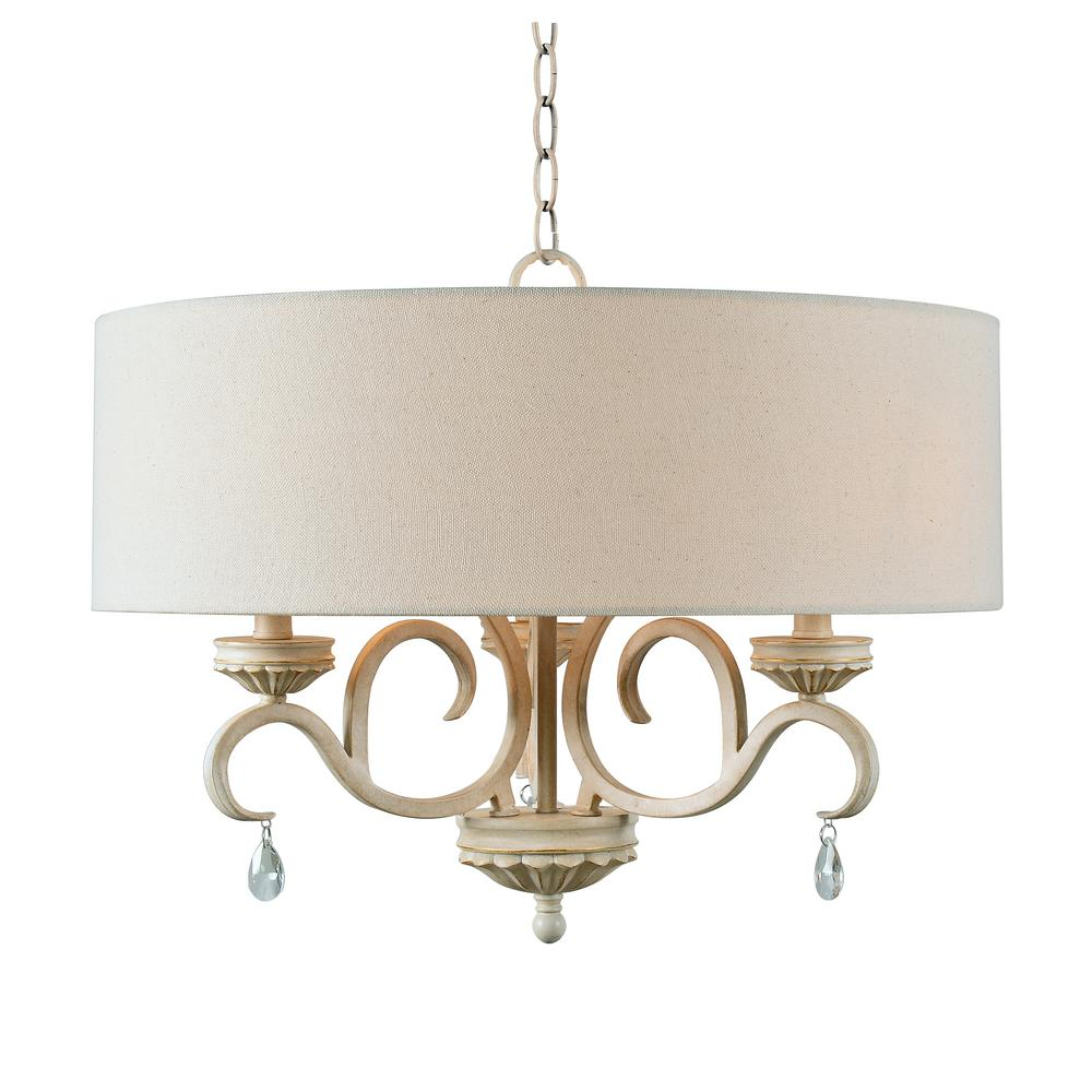Kenroy Home Marcella 3 Light Weathered White Chandelier With Shade