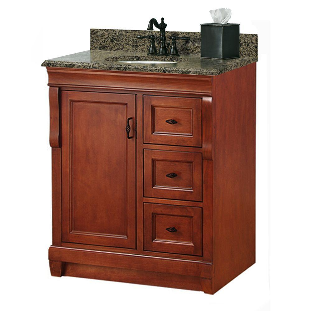 Foremost Naples 31 In W X 22 In D Bath Vanity With Right Drawers In Warm Cinnamon With Granite