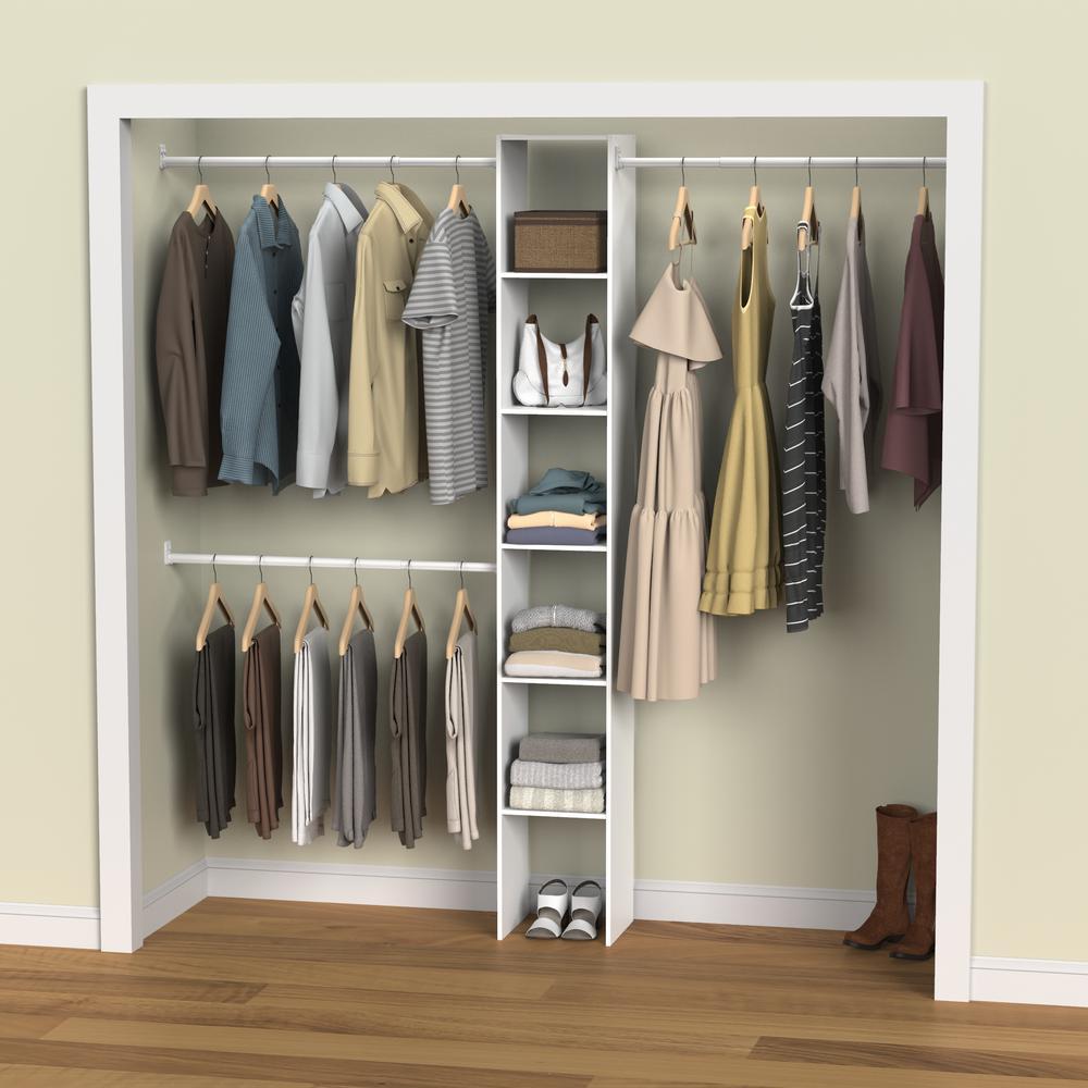 Closetmaid 12 In W White Custom Organizer Wood Closet System 7033 The Home Depot