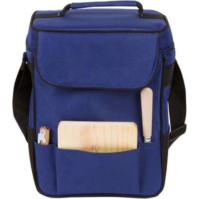 13 in. Blue Insulated Cooler Tote Set for Wine and Cheese