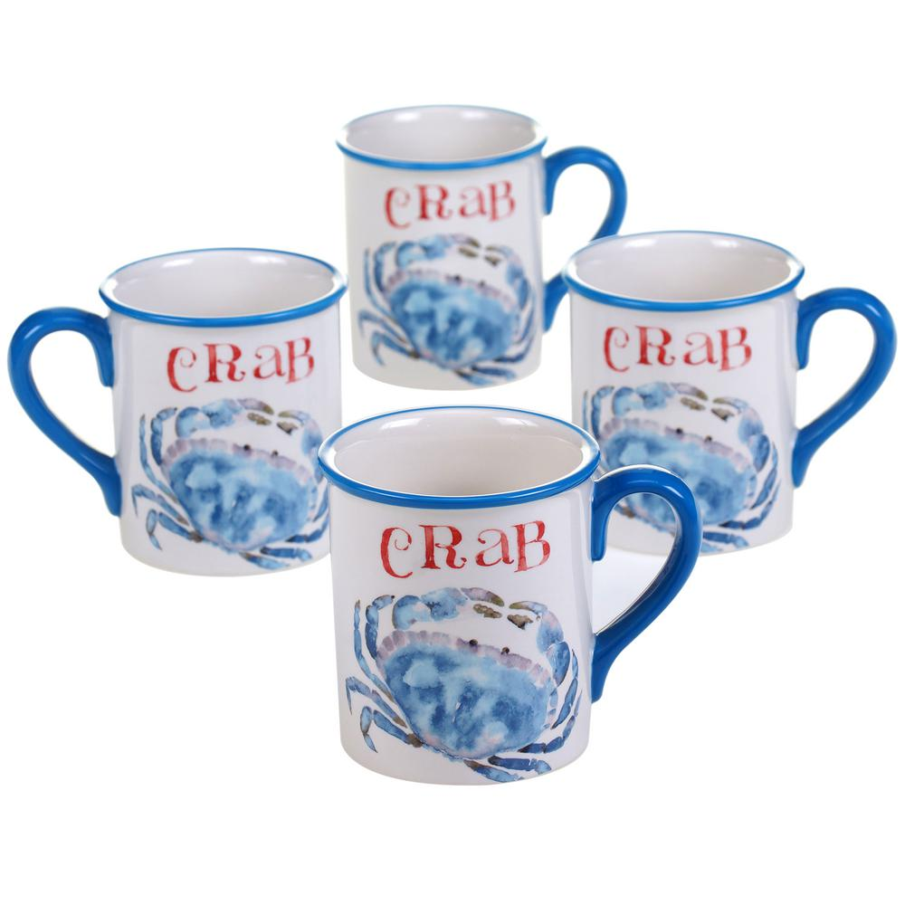 Certified International Beach House Kitchen Crab 18oz Mug Set Of 4 15262set 4 The