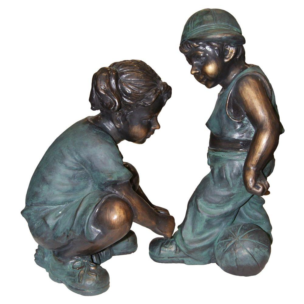 Alpine Corporation Girl Fixing Boyu0027s Shoe Lace Statue