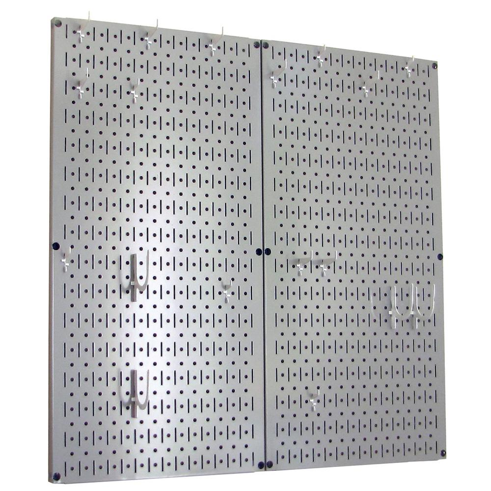 Wall Control Kitchen Pegboard 32 in. x 32 in. Metal Peg Board Pantry Organizer Kitchen Pot Rack Gray Pegboard and White Peg Hooks
