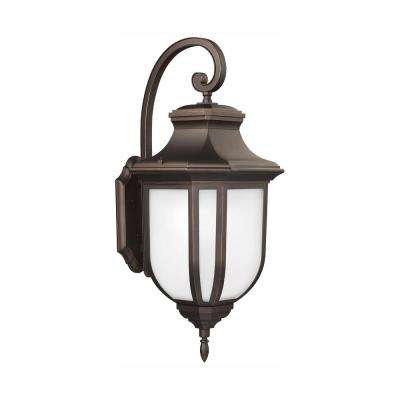 Childress 1-Light Antique Bronze Outdoor 14.625 in. Wall Lantern Sconce with LED Bulb