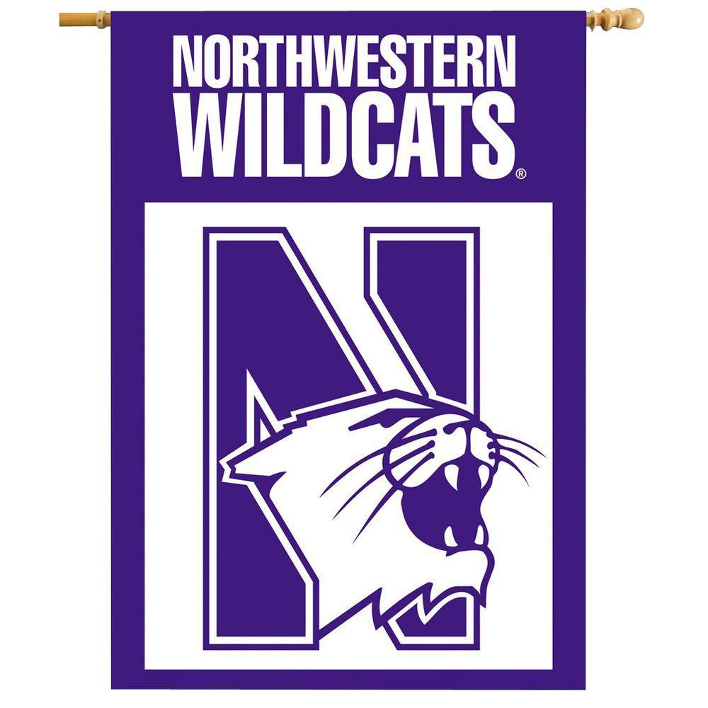BSI Products NCAA 28 in. x 40 in. Northwestern 2-Sided Banner with Pole Sleeve