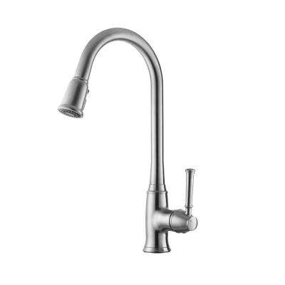 Bayberry Single-Handle Pull-Down Sprayer Kitchen Faucet in Satin Nickel