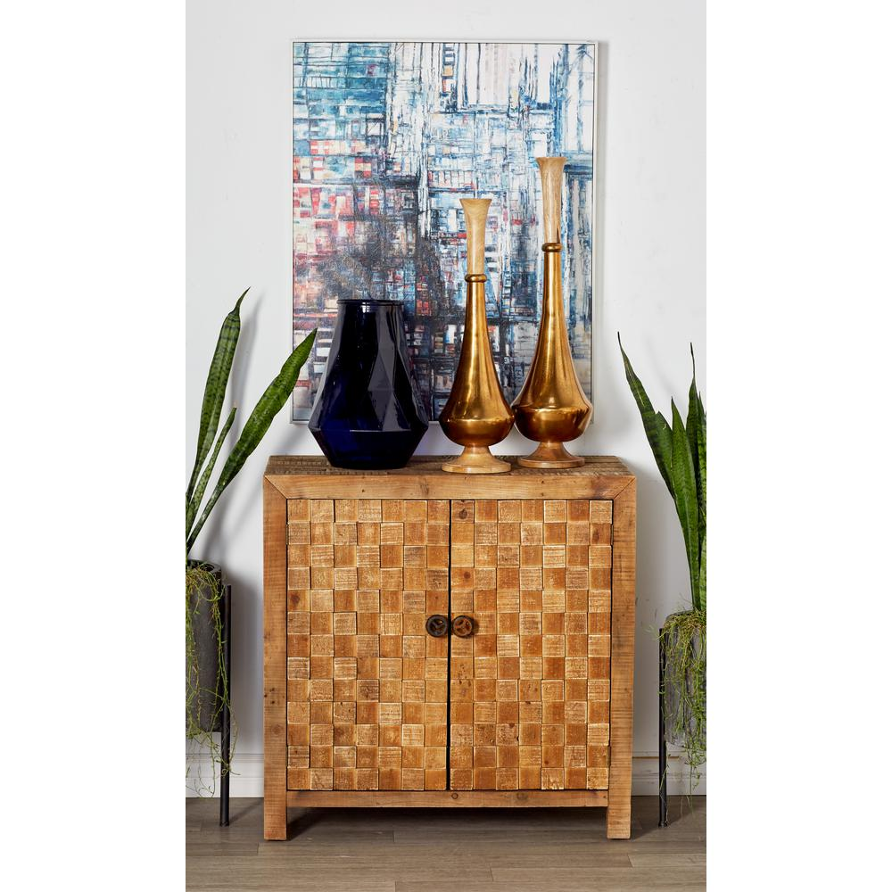 Stained Brown 2-Door Checkered Cabinet