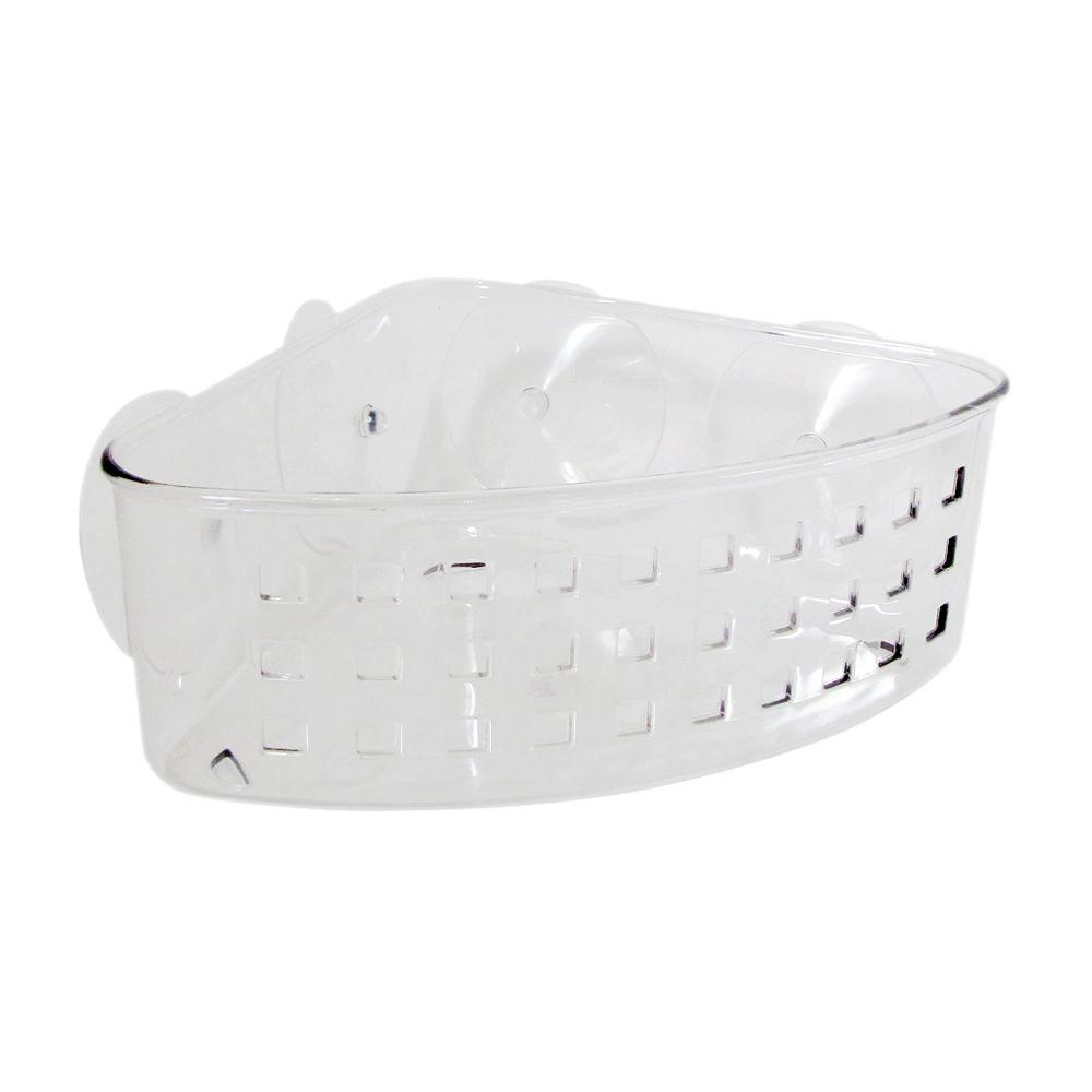 InterDesign Suction Corner Basket In Clear