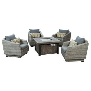 Cannes 5-Piece Patio Fire Pit Seating Set with Charcoal Grey Cushions
