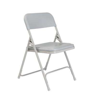Grey Plastic Seat Stackable Outdoor Safe Folding Chair (Set of 4)