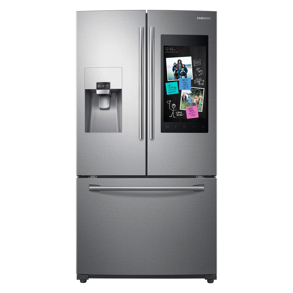 Samsung 24 2 cu  ft  Family Hub French Door Smart Refrigerator in Stainless  Steel