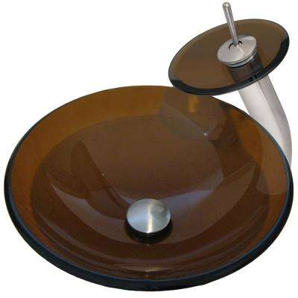 Novatto TY Glass Vessel Bathroom Sink Set, Brushed Nickel/ Tea Glass