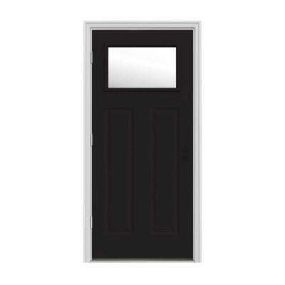 30 in. x 80 in. 1 Lite Craftsman Black w/ White Interior Steel Prehung Right-Hand Outswing Front Door w/Brickmould