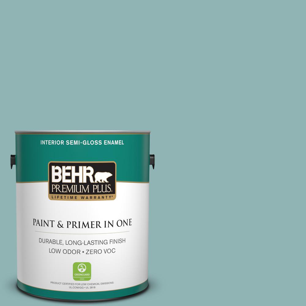1-gal. #BIC-24 Artful Aqua Semi-Gloss Enamel Interior Paint