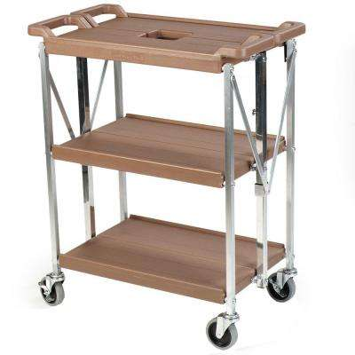 350 lb. Tan Small Fold 'N Go Heavy-Duty 3-Tier Collapsible Utility Cart and Portable Service Transport